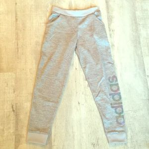 NWOT Girls Adidas Silver Joggers